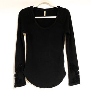 Free People LS waffle knit top